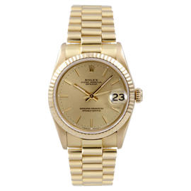 Rolex 18K Yellow Gold President Midsize Champagne Stick Dial Watch