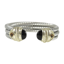 David Yurman 925 Sterling Silver 14K Yellow Gold 3-Row Black Onyx Citrine Renaissance Bracelet