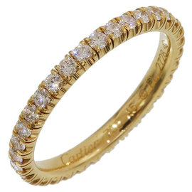 Cartier 18K Yellow Gold Full Diamonds Eternity Band Ring Size 3.25