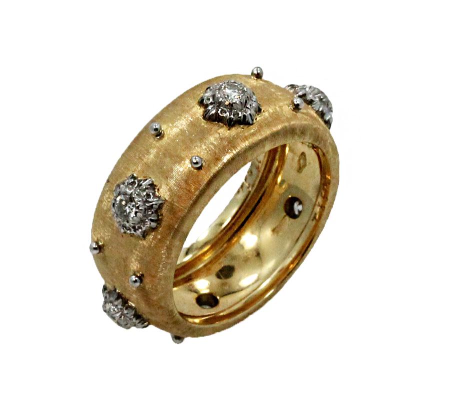 "Image of ""Buccellati 18K Yellow Gold & Diamond Macri Band Ring Size 6"""