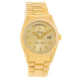 Vintage Rolex Day Date 18038 18K Yellow Gold 36mm Mens Watch