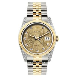 Rolex Date Stainless Steel & 18K Yellow Gold Diamond 34mm Watch