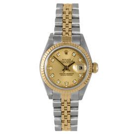 Rolex Two Tone Datejust Champagne Diamond Dial Watch