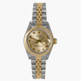 Rolex Two Tone Datejust Champagne Roman Dial Watch