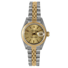 Rolex Two Tone Datejust Champagne Stick Dial Watch