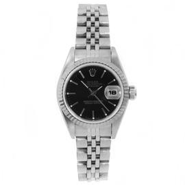 Rolex Stainless Steel Datejust Black Stick Dial Watch