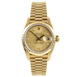 Rolex 14K Yellow Gold President Champagne Diamond Dial Watch