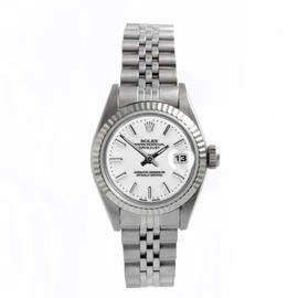 Rolex Stainless Steel Datejust White Stick Dial Watch