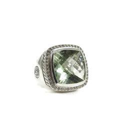 David Yurman Sterling Silver Prasiolite Diamond Shank Albion Ring Size 6
