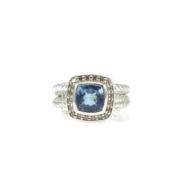 David Yurman Sterling Silver Blue Topaz and 0.17ct Diamond Petite Albion Ring Size 5