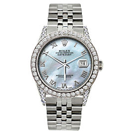Rolex Datejust Diamond Stainless Steel Mens 36mm Watch