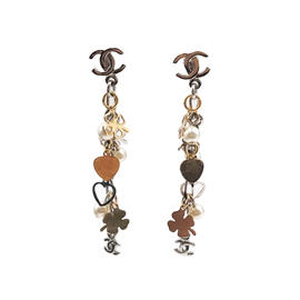 Chanel Gold & Silver Tone Metal CC Heart Clover Pearl Dangle Piercing Earrings