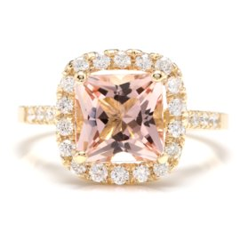 14K Yellow Gold 2.5ct Natural Morganite and 0.6ct Diamond Ring Size 6.5