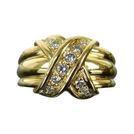 Tiffany & Co. 18K Yellow Gold Diamond Signature X Band Ring Size 4.5