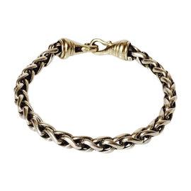 David Yurman Sterling Silver & 14K Yellow Gold Large Wheat Chain Bracelet