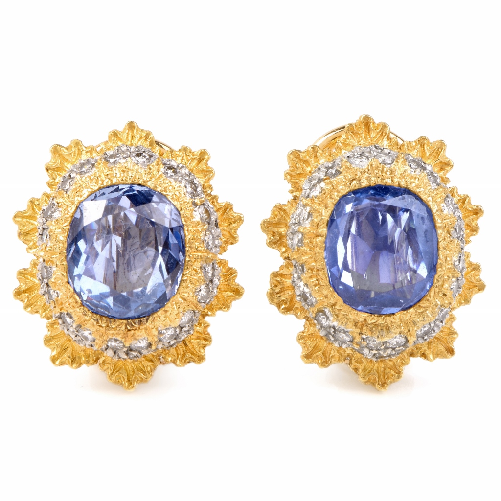 "Image of ""Buccellati 18K Yellow Gold 5.7cts Blue Sapphire and 1.6ct Diamond"""