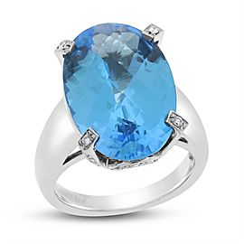 14k White Gold 10.25ct. Blue Topaz & Diamond Ring Size 5