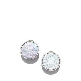 Hermes Silver Tone Metal Clou de Selle Mother of Pearl Earrings