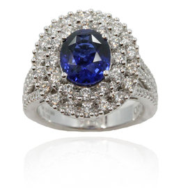 Gregg Ruth 18K White Gold Sapphire & Diamonds 1.99ct Ring Size 7