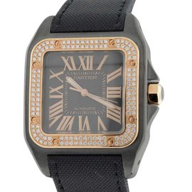 Cartier Santos 100 18K Rose Gold & Stainless Steel PVD Diamond 45mm x 37mm Watch