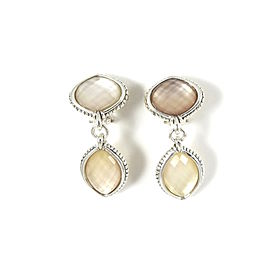 Lagos 925 Sterling Silver Venus Pink Mother of Pearl Doublet Drop Earrings