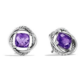 David Yurman Sterling Silver Amethyst Infinity Stud Earrings