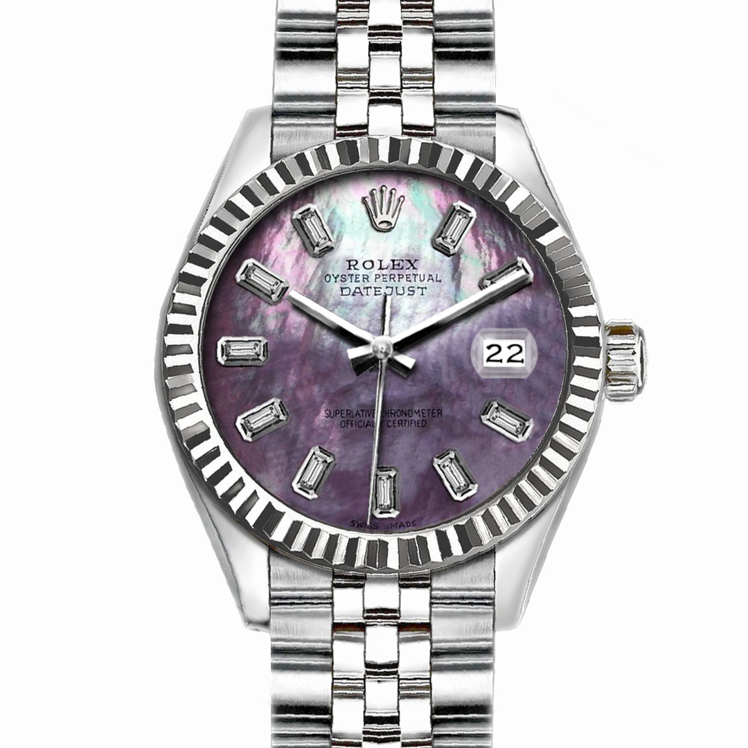 "Image of ""Rolex Datejust Stainless Steel with Purple MOP Dial 36mm Mens Watch"""