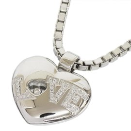 Chopard 18K White Gold Happy Diamond Love Heart Venetian Chain Pendant Necklace