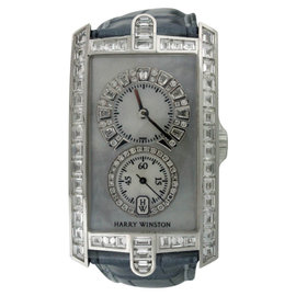 Harry Winston Avenue 331/UQWL 18K White Gold Baguette Diamonds & Leather 26mm Womens Watch