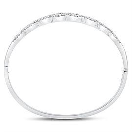 18K White Gold 3.00ct Natural Diamond Wavy Baguettes & Rounds Bangle Bracelet