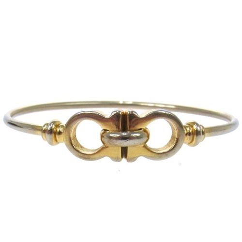 "Image of ""Salvatore Ferragamo Gold Tone Hardware Bangle Bracelet"""