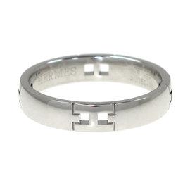 Hermes 18K White Gold Hercules Ring Size 4.75