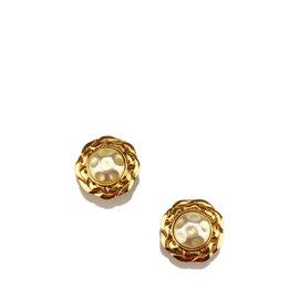 Chanel Gold-Tone Faux Pearl Clip-On Earrings