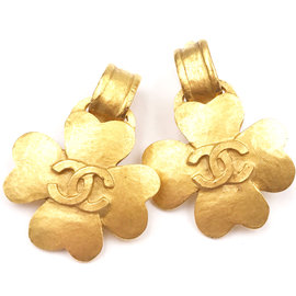 Chanel 24K Gold Plated CC Clover Dangle Clip on Earrings