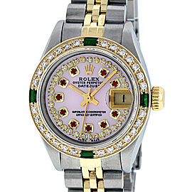 Rolex Datejust Stainless Steel and 18K Yellow Gold Pink Mother of Pearl Diamond Dial Diamond and Emerald Bezel 26mm Women's Watch