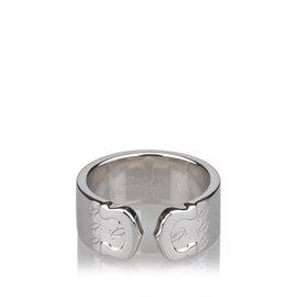Cartier C De Logo White Gold Ring Size 6.0