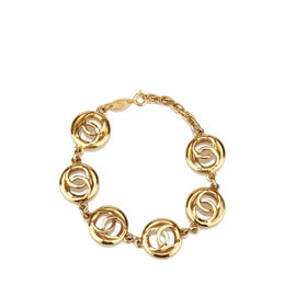 Chanel Gold-Tone Metal CC Chain Bracelet