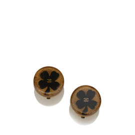 Chanel Gold Tone Four Leaf Clover Clip-On Earrings
