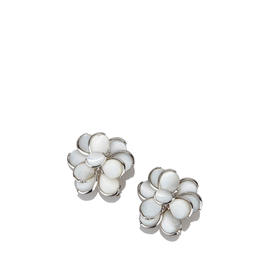 Chanel Sterling Silver Shell Camellia Earrings