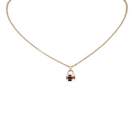 Chloe Gold Tone Metal Padlock Pendant Necklace