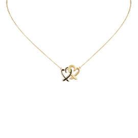 Tiffany & Co. 18K Yellow Gold Double Loving Heart Pendant Necklace