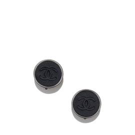 Chanel Silver Tone Leather CC Clip-On Earrings