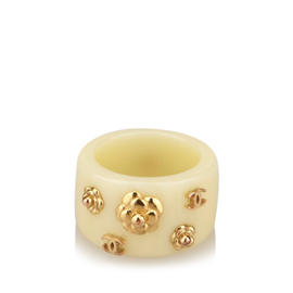Chanel Gold-Tone Camellias Enamel Ring