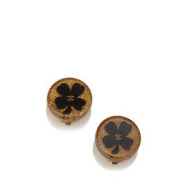 Chanel Gold-Tone Enamel Flower Earrings