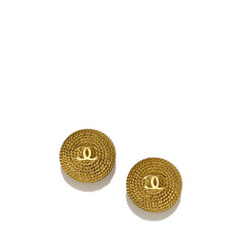 Chanel Gold-Tone Metal CC Clip-On Earrings