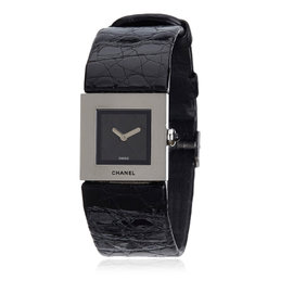 Chanel Mademoiselle Silver-Tone Leather 19mm Womens Watch