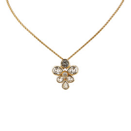 Dior Gold Stone Metal Rhinestone Studded Pendant Necklace