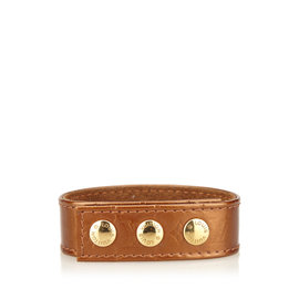 Louis Vuitton Leather & Gold Tone Metal Snap Bracelet