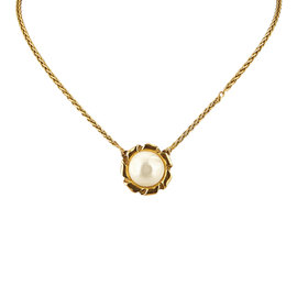 Chanel Gold Tone Faux Pearl Pendant Necklace