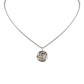 Chanel Silver Tone Amellia Pendant Necklace